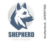 german shepherd illustration.... | Shutterstock .eps vector #649097485