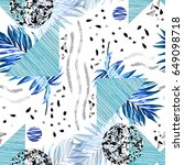 tropical seamless pattern with... | Shutterstock . vector #649098718