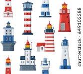cartoon lighthouse pattern. red ... | Shutterstock .eps vector #649102288