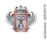 heraldic coat of arms... | Shutterstock .eps vector #649104772