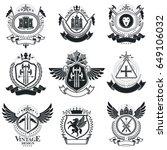 heraldic coat of arms...   Shutterstock .eps vector #649106032