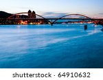 Beautiful river and bridge in Taipei city - stock photo