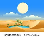 desert oasis background. egypt... | Shutterstock .eps vector #649109812