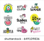 Stock vector set of summer icons and design elements 649109836