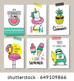 set of fun summer holidays cards | Shutterstock .eps vector #649109866