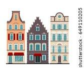 set of 3 amsterdam old houses...   Shutterstock .eps vector #649110205