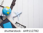 business trip concept. airplane ... | Shutterstock . vector #649112782