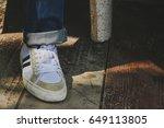 close up shoe on wood floor | Shutterstock . vector #649113805