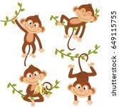 Set Of Isolated Monkey Hanging...