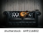 empty vintage sofa and electric ... | Shutterstock . vector #649116802