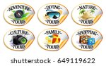 travel stickers set   diving ... | Shutterstock .eps vector #649119622