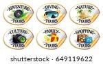 travel stickers set   diving ... | Shutterstock .eps vector #649119622