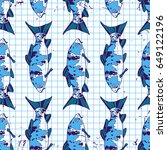 tropical fish seamless pattern...   Shutterstock .eps vector #649122196