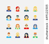 super set of cool flat avatars... | Shutterstock .eps vector #649122505