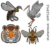 Tiger  Bee  Crane Embroidery...