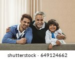 portrait of happy three... | Shutterstock . vector #649124662