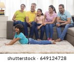 happy family sitting together... | Shutterstock . vector #649124728
