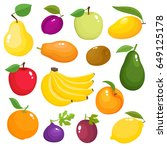 bright vector set of colorful... | Shutterstock .eps vector #649125178