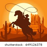 western cowboys silhouette... | Shutterstock .eps vector #649126378