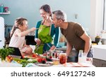 dad  mom and their little... | Shutterstock . vector #649127248