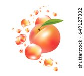 fresh peach fruit vector.... | Shutterstock .eps vector #649127332