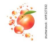 fresh peach fruit vector.... | Shutterstock .eps vector #649127332