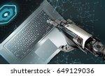 artificial hand of robot... | Shutterstock . vector #649129036