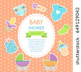 baby shower invitation card.... | Shutterstock .eps vector #649129042