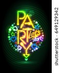 golden neon lights party design ... | Shutterstock .eps vector #649129342