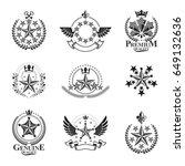 ancient stars emblems set.... | Shutterstock .eps vector #649132636