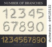 digits and numbers with floral... | Shutterstock .eps vector #649135132