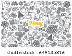 hand drawn honey doodle set... | Shutterstock .eps vector #649135816