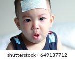 asian baby boy get sick he has... | Shutterstock . vector #649137712