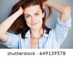 beautiful real natural mature... | Shutterstock . vector #649139578