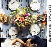 groom kissing bride hand in... | Shutterstock . vector #649142638