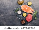 raw tuna and salmon steak and... | Shutterstock . vector #649144966
