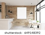 light wooden cafe interior with ... | Shutterstock . vector #649148392
