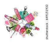 beauty sketch background. hand... | Shutterstock .eps vector #649151932