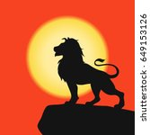 lion on a rock   black... | Shutterstock .eps vector #649153126