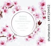cherry blossom round card frame.... | Shutterstock .eps vector #649154452
