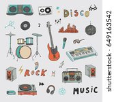 hand drawn doodle rock music... | Shutterstock .eps vector #649163542