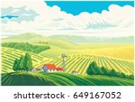 rural landscape with a... | Shutterstock .eps vector #649167052