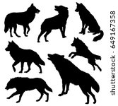 wolf silhouette set. vector... | Shutterstock .eps vector #649167358