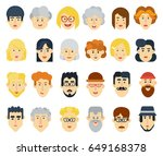 funny flat avatars icons set.... | Shutterstock .eps vector #649168378