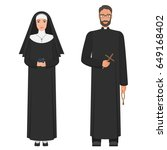 catholic priest and nun. flat... | Shutterstock .eps vector #649168402