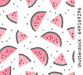 seamless watermelons pattern.... | Shutterstock .eps vector #649169296