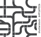 seamless vector road pattern.... | Shutterstock .eps vector #649169326