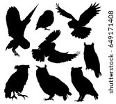 Stock vector owl silhouette set vector illustration 649171408