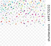 many falling colorful confetti... | Shutterstock .eps vector #649173232