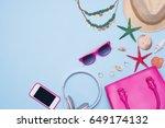summer concept. pink handbag... | Shutterstock . vector #649174132